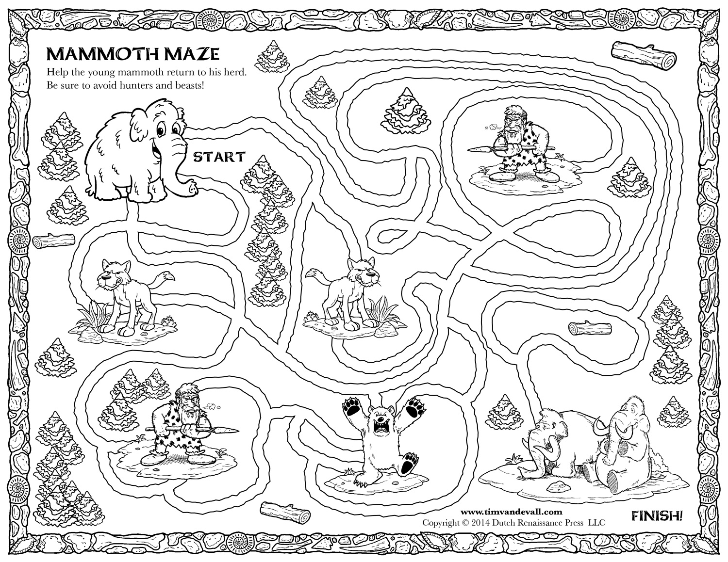 Cave Maze Colouring Pages