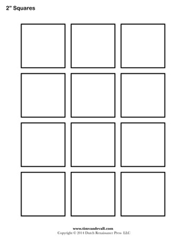 Square Templates on 8x10 Printable Grid Worksheets