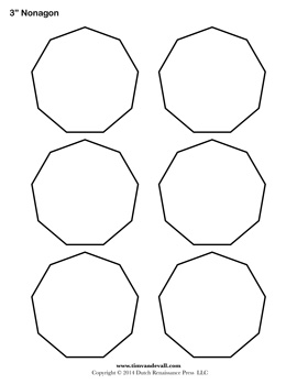 Blank Nonagon Templates | Free Printable Nonagon Shapes | PDF