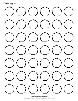 Blank Nonagon Templates | Free Printable Nonagon Shapes | PDF