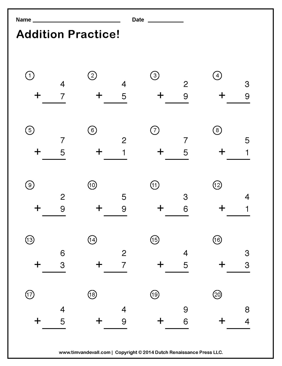 Free Single Digit Addition Worksheets – Simple Addition Math Worksheets