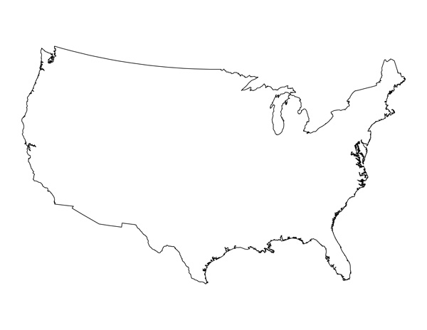 Labeled Map If Us Globalinterco - Map of us clip art