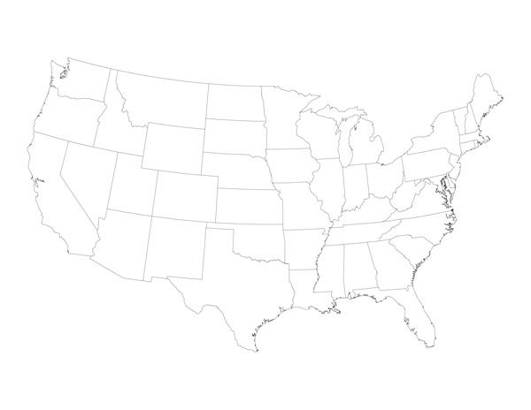 Blank United States Map with States
