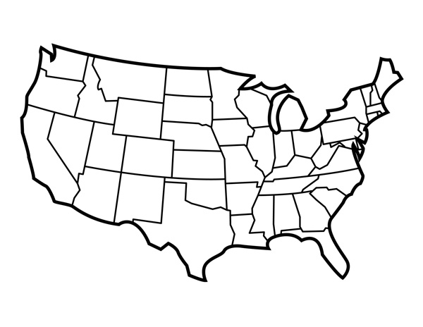 Line Drawing United States Map : Blank united states map with for students and