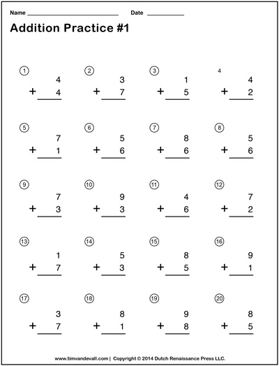 math worksheet : simple addition worksheets for kids  free math practice problems : Math Quiz Worksheet