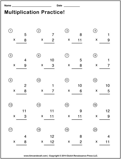 Simple multiplication worksheets printable pdf for Table questions