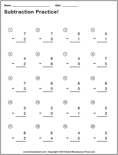 Subtraction Worksheets Pdf - Addition And Subtraction Facts Worksheets ...