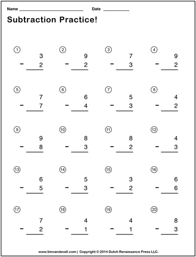 Simple Subtraction Worksheets for Students and Teachers | PDF Format