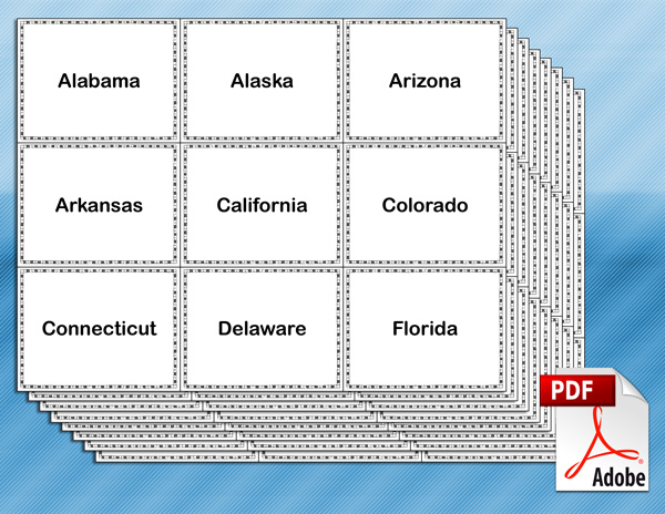 States and Capitals Flash Cards for Kids