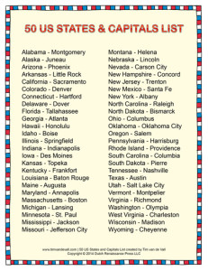 photo about State and Capitals List Printable named Says-and-Capitals-Listing-400w - Tims Printables