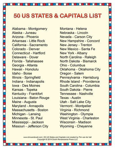 Printable States And Capitals List Social Stu S Study