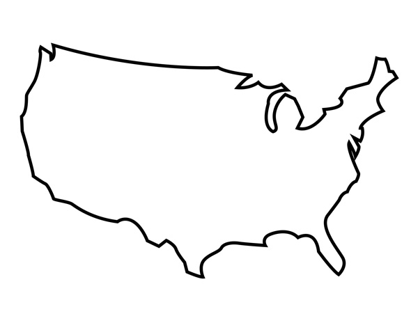 Line Drawing United States Map : Blank map of the united states printable usa pdf