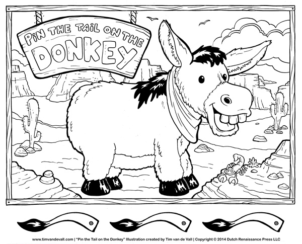Pin the tail on the donkey poster