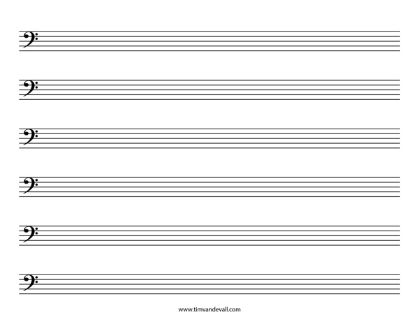 Blank Bass Clef Staff Paper – Music Paper Template