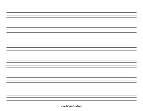 Blank Music Staff Paper PDF – 6, 10, 12 Stave Sheet Music