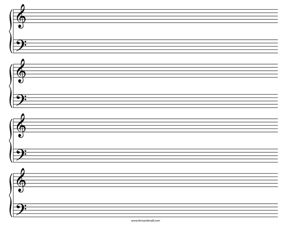 Attirant Grand Staff Paper Templates · Blank Sheet Music