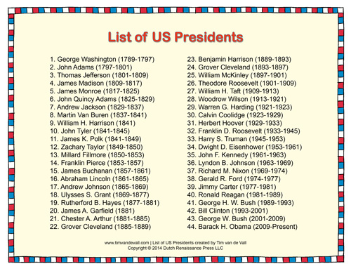 Printable List Of Presidents Of The United States Of