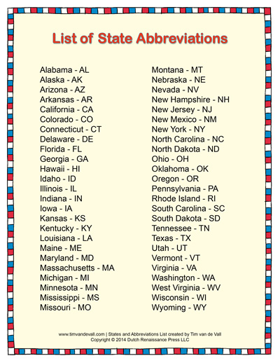 Printable List of State Abbreviations for Students and Kids