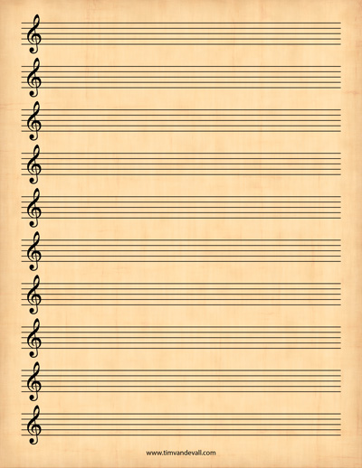 Blank Treble Clef Staff Paper  Free Sheet Music Template Pdf