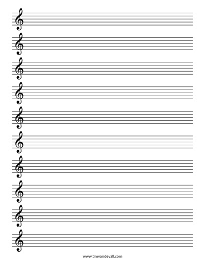 Blank treble clef staff paper free sheet music template pdf for Music manuscript template