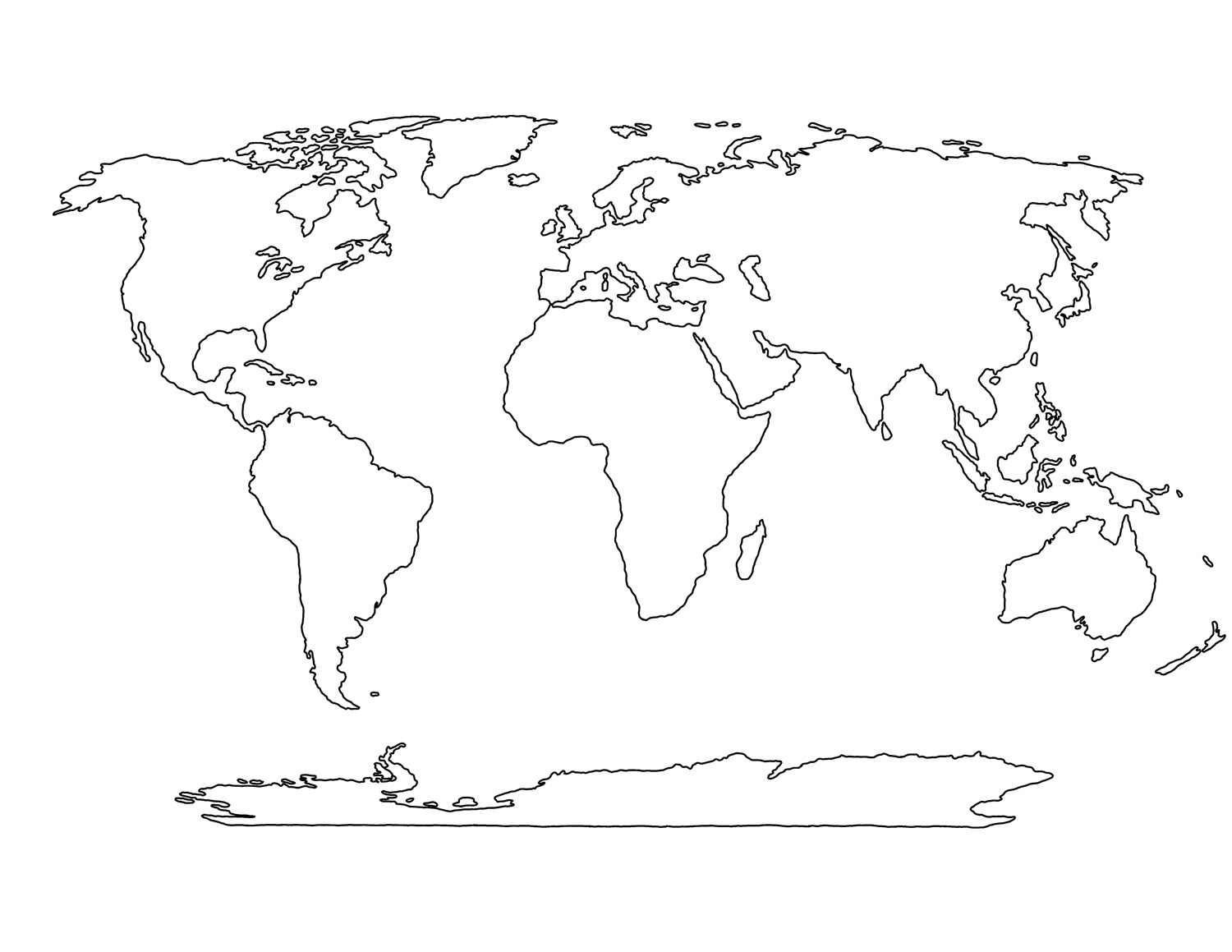 Printable Blank World Map Template For Students And Kids - Blank map of the world for students