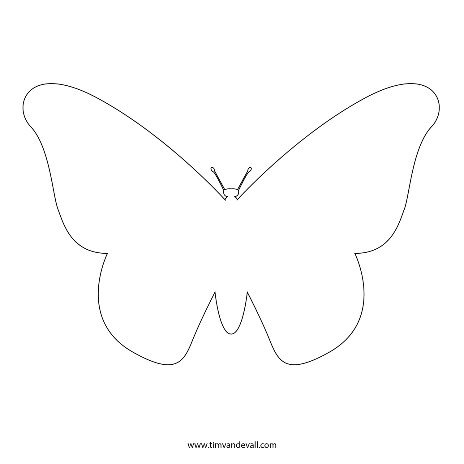 Free butterfly stencil monarch butterfly outline and for Butterfly template free