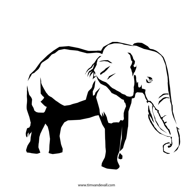 Elephant Stencil Trunk Up Elephant Outline Print...
