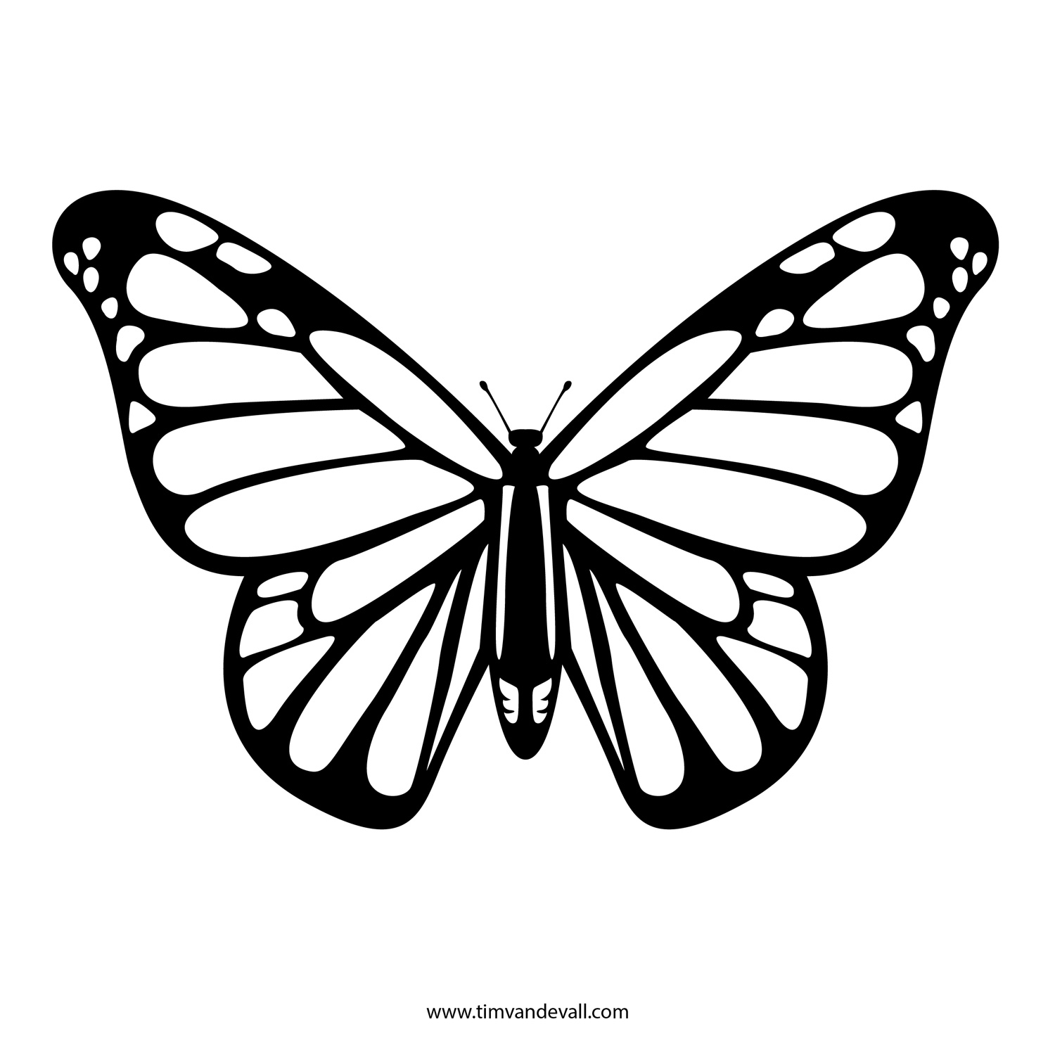 Free Butterfly Stencil | Monarch Butterfly Outline and ...