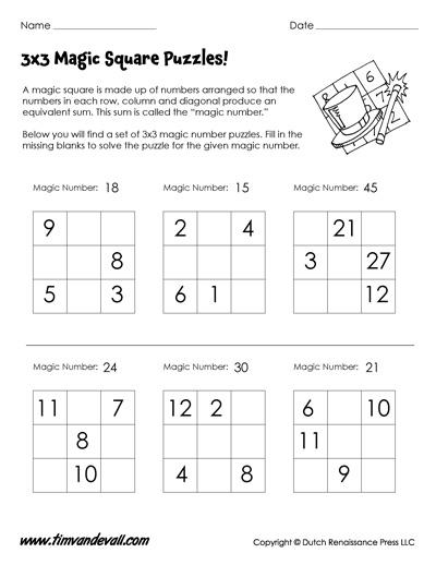 Magic Squares Worksheets | 3x3 & 4x4 Magic Square Puzzle