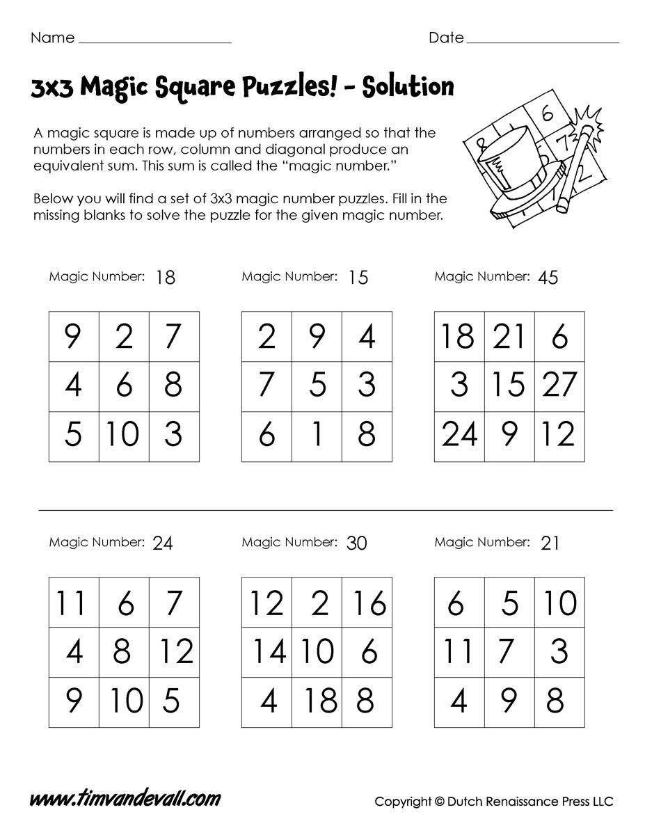 3x3 magic square worksheet tim 39 s printables. Black Bedroom Furniture Sets. Home Design Ideas