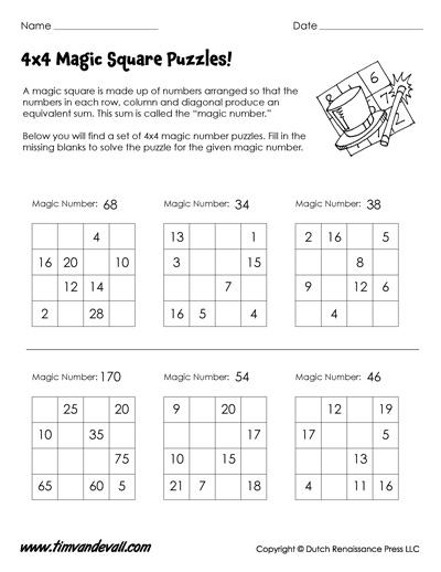 4x4 magic square puzzles