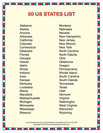 50 States And Capitals In Alphabetical Order on