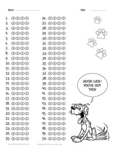 50 question answer sheet