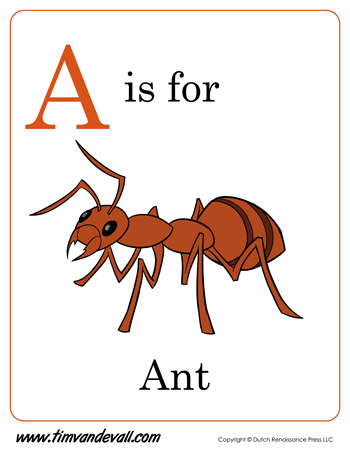 graphic relating to Ant Printable referred to as A is for Ant Printable - Tims Printables