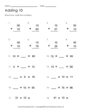 Adding 10 Worksheet | Free Printable First Grade Math Worksheets