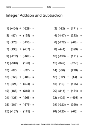Adding and Subtracting Integers Worksheet | Math Printables