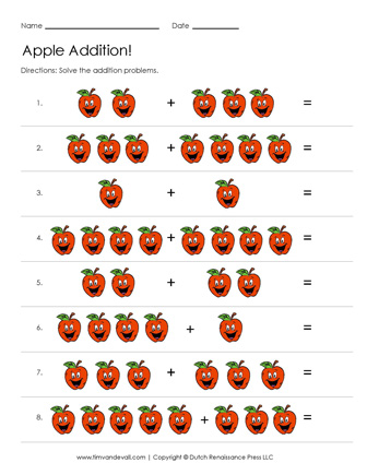 addition worksheets with pictures