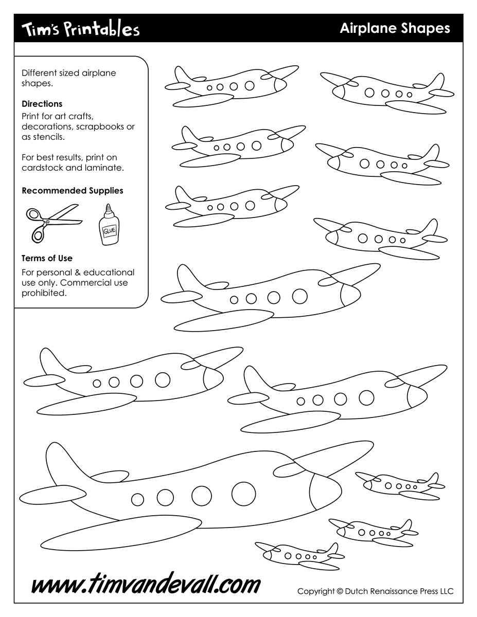 airplane templates tim 39 s printables. Black Bedroom Furniture Sets. Home Design Ideas