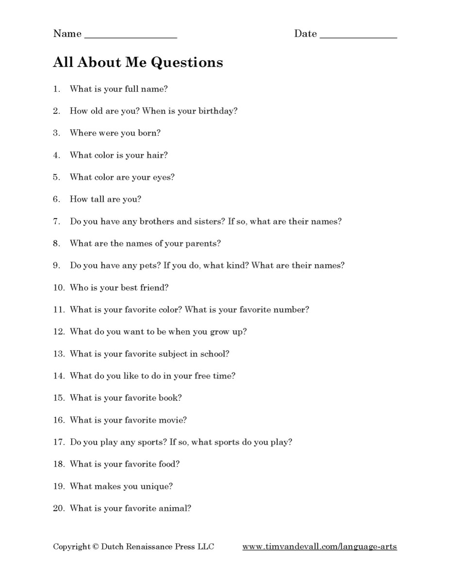 All About Me Questions Printable - Tim's Printables