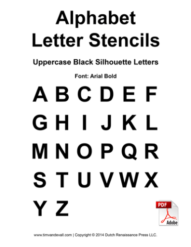 graphic regarding Printable Letter Stencils Pdf known as Alphabet-Letter-Stencils-Uppercase-Black - Tims Printables