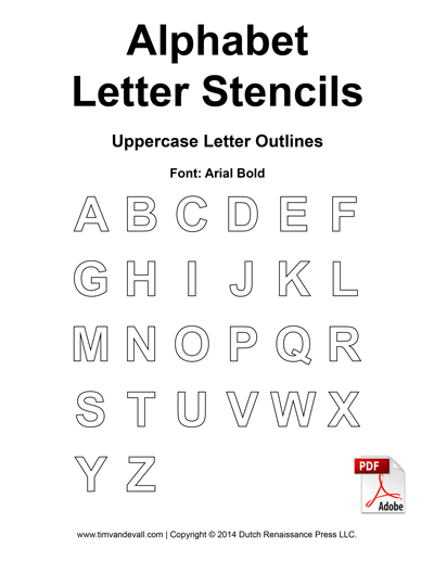 Free alphabet letter stencils for kids printable alphabet templates alphabet templates spiritdancerdesigns Gallery