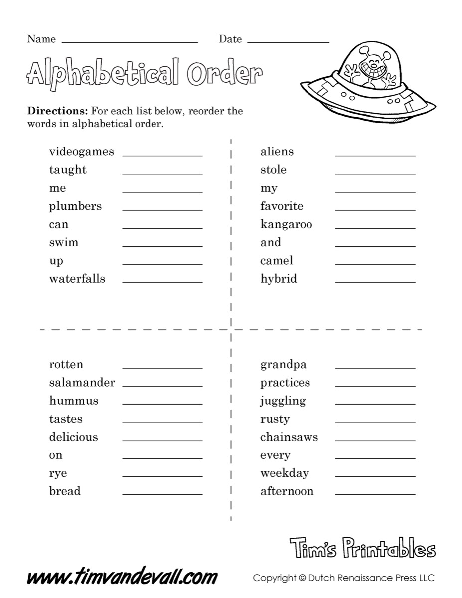 Worksheets Alphabetical Order Worksheet alphabetical order worksheet 01 tims printables an for language arts class