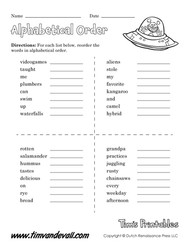 Printable Alphabetical Order Worksheets | Language Arts PDF