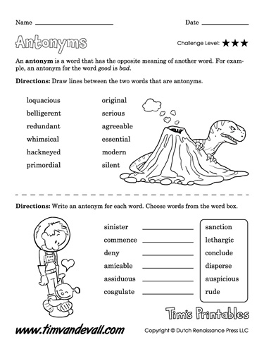 printable antonym worksheet