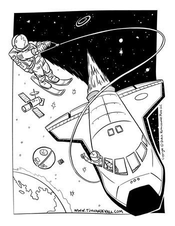 space coloring page for kids