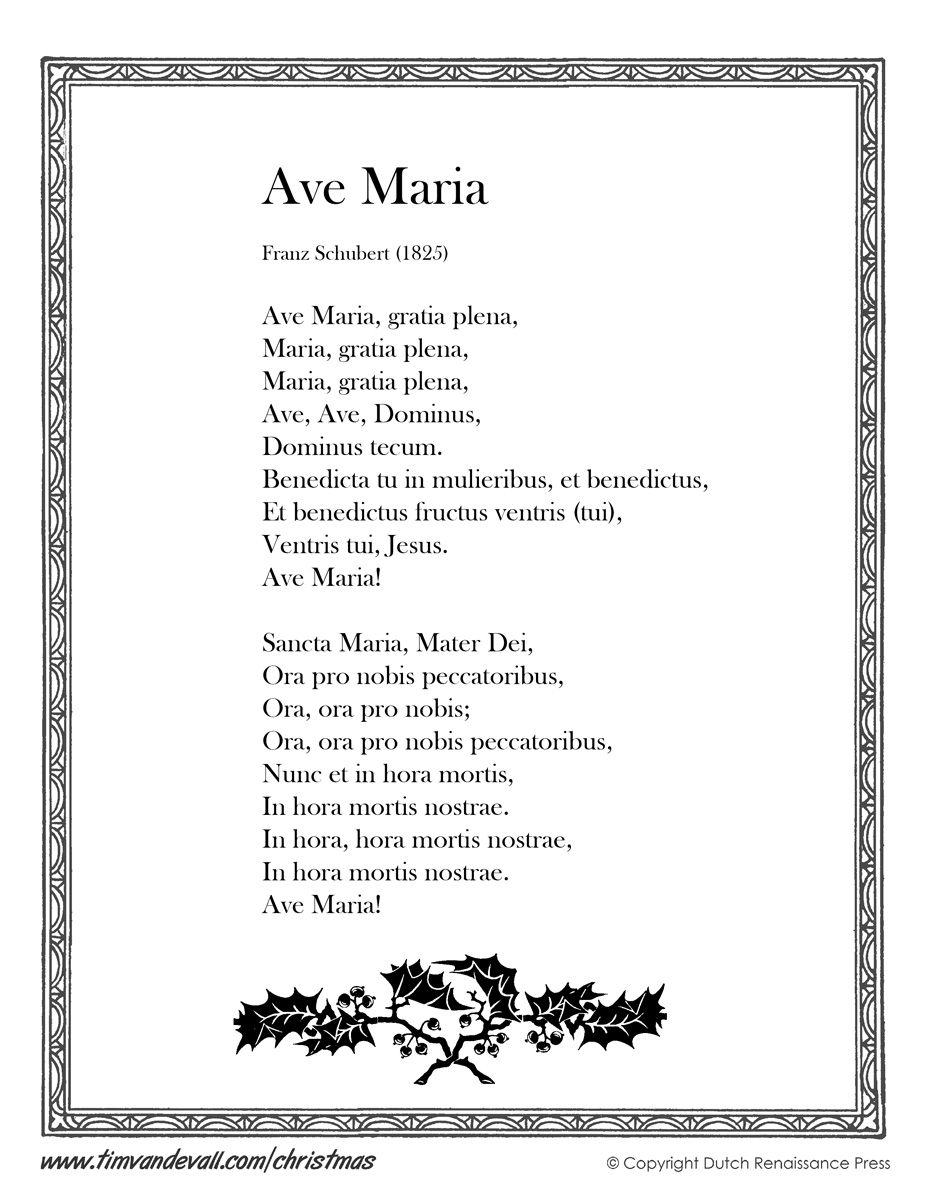 Ave Maria Lyrics Printable | Christmas Lyrics