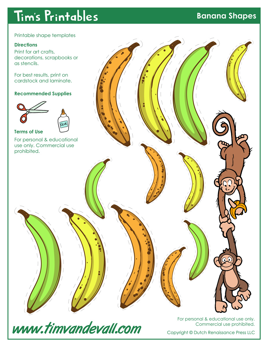 graphic regarding Banana Printable referred to as Banana Templates