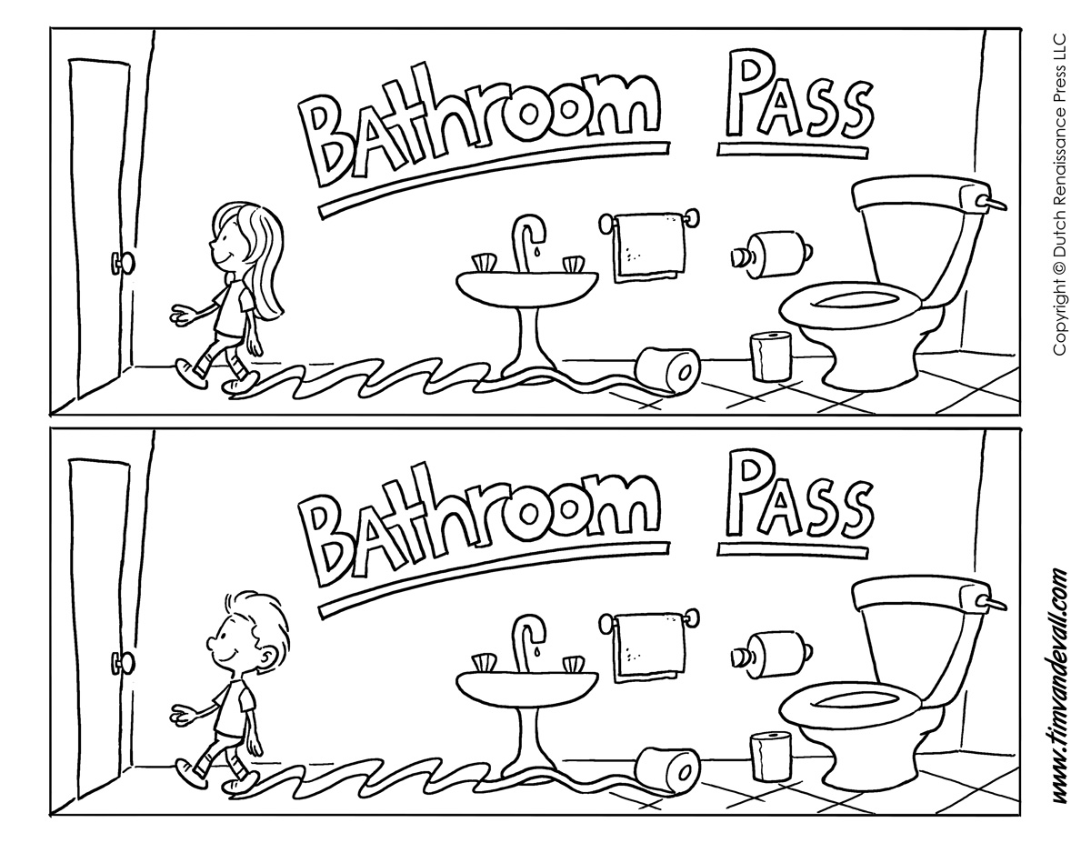 Bathroom Pass Punch Card Template