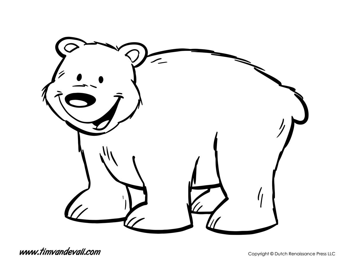 Bear Coloring Page - Tim's Printables