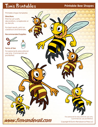 photo regarding Bee Template Printable named Printable Bee Templates Bee Styles for College or university Actions
